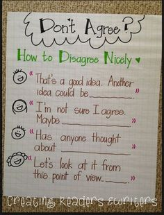 Teach Your Child to Read - Great anchor chart examples to support reading discussion~Creating Readers and Writers - Give Your Child a Head Start, and.Pave the Way for a Bright, Successful Future. Social Emotional Learning, Social Skills, Visual Learning, Social Issues, Communication Orale, Cooperative Learning, Classroom Community, Readers Workshop, Writer Workshop