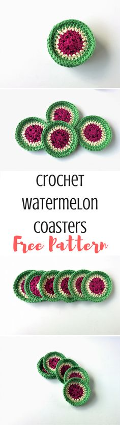 Learn how to make crochet watermelon coasters! This project is perfect for beginners and there's a free pattern ebook at the end!