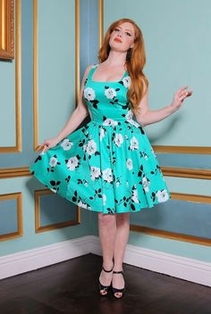 Shop Pinup Girl Clothing for cute and sexy vintage inspired dresses, skirts, tops, and pants. We believe beauty comes in all sizes from Cocktail Length Dress, Pinup Girl Clothing, Funny Fashion, Retro Aesthetic, Mid Length Dresses, Pin Up Girls, Pretty Woman, Vintage Outfits, Turquoise