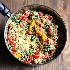 Couscous bake with lemon, spinach and garbanzos: 12 Simple Trader Joe's Meals Fish Recipes, Baby Food Recipes, Dinner Recipes, Cooking Recipes, Cooking Ideas, Couscous Recipes, Salad Recipes, Couscous Meals, Pasta Recipes