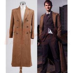 Doctor Who cosplay Dr. Brown Long Trench Coat Suit Costume Custom Made