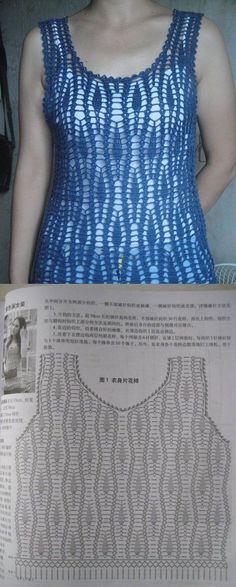 I love Crochet Shell pattern.Nice Blazer in contrast color to match underlining of Shell. Crochet Tank Tops, Crochet Summer Tops, Crochet Skirts, Crochet Tunic, Crochet Jacket, Crochet Clothes, Crochet Diagram, Crochet Woman, Crochet Dresses