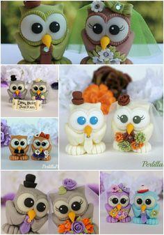 Wedding owl cake topper