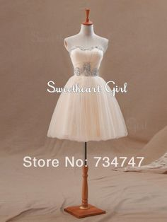 Custom Made Low Price Graduation Dress Short Ball Gown Sweetheart Sleeveless Tulle Pleat With Crystals Beaded Bandage Lace-Up $94.00