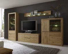 Wohnwand echtholz eiche  Wohnzimmer Anbauwand aus Eiche Bianco geölt Beleuchtung (4-teilig ...