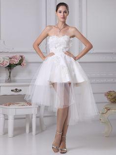 Tulle Sweetheart Strapless Mini/Short Appliques A-line Wedding Dress at nextdress.co.uk