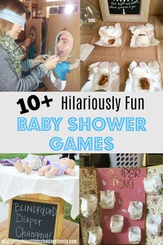 Hilariously Fun Baby Shower Games that all guests will enjoy! Don't want to play the same boring games that are played at every other baby shower? Here is a list of fun baby shower games, that EVERYONE will enjoy! Baby Shower Games Unique, Baby Shower Party Games, Baby Shower Activities, Baby Shower Printables, Baby Party, Baby Shower Guest Gifts, Baby Shower Stuff, Baby Shower Ideas Gifts, Baby Shower Gamea