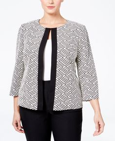 Add some pizzazz to your next event or party in this striking plus size open-front blazer by Tahari Asl. | Polyester | Dry clean | Imported | Open front; one hook-and-eye closure | Three-quarter-sleev