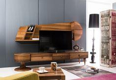 ტელევიზორის მაგიდების მრავალფეროვანი არჩევანი ავეჯის სალონში ''რანდი''. Tv Unit Furniture, Modern Wood Furniture, Retro Furniture, Furniture Design, Tv Cabinet Design, Tv Unit Design, Tv Wall Design, Modern Tv Wall Units, Rack Tv