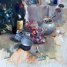 Hortensia's   schilderij van een stilleven in olieverf van Simeon Nijenhuis   Exclusieve kunst online te koop in de webshop van Galerie Wildevuur