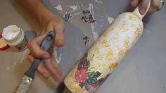 DECOUPAGE MARMORIZADO EM GARRAFA ❤ - CURSO DE ARTESANATO BELLA ART'S - YouTube