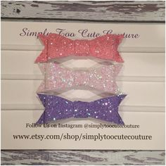 Pink Purple White Chunky Glitter Bow by SimplyTooCuteCouture