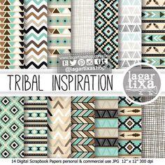 Tribal patterns digital paper turquoise black by LagartixaShop Vector Pattern, Pattern Design, Design Design, Motifs Aztèques, Arrow Feather, Diy And Crafts, Paper Crafts, Feather Pattern, Arrow Pattern