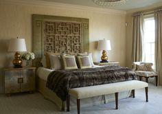 Contemporary Bedroom with custom headboard - The Enchanted Home Greek Bedroom, Decor Interior Design, Furniture Design, Diy Furniture, Interior Decorating, Greek Decor, Enchanted Home, Guest Bedrooms, Master Bedrooms