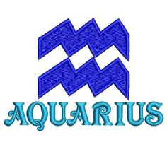 Aquarius embroidery design. Horoscope embroidery