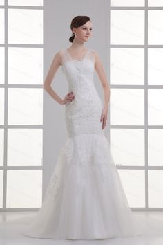 Satin and Net Straps Mermaid Floor Length Embroidered Wedding Dress - Focus Vogue