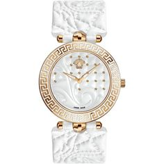 Versace Vanitas Swiss Movement Quilted Gold Studded White Leather... ($1,745) ❤ liked on Polyvore featuring jewelry, watches, bezel watches, logo watches, versace, gold jewelry and gold wrist watch