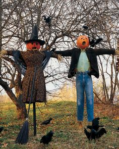 Frightfully Fun Scarecrow - Martha Stewart Crafts Pumpkin Scarecrow  Stuff and dress a family of pumpkin heads, and they will cast a spell over the neighborhood -- crows included!  How to Make a Pumpkin Scarecrow