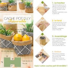 DIY Tutorial: Realize a reversible pot cache in just 4 steps from . Sewing Projects, Diy Projects, Diy Tutorial, Fabric Design, Diy And Crafts, Homemade, Accessoires Divers, Plant Stands, Nice Things