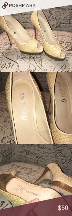 """NEW Boutique 9 Stiletto Heels Made in Brazil...Gorgeous Brand New Stiletto Heels...Woven Fabric, natural colorings and markings....(not flaws!)...Open-toed, 1/2"""" wooden Platform, 4"""" Heel....worn only once Boutique 9 Shoes Heels"""