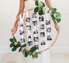 Who knew a hula hoop could be repurposed into a wedding-worthy photo display?…