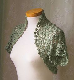 Green cotton crochet shrug by BernioliesDesigns, on Ravelry - possible future project - pattern to buy
