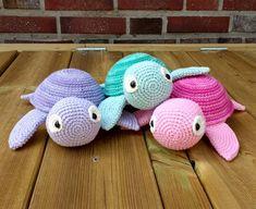 Matrials & Tools mm crochet hook (US E hook) (or a size that fits your yarn) Needle Stuffing Scissors Abbreviations st = stitch sc = single crochet ch = chain sl st = slip stitch inc = increase dec = decrease Crochet Easter, Cute Crochet, Crochet Dolls, Crochet Turtle, Yarn Needle, Crochet Animals, Yarn Crafts, Single Crochet, Crochet Projects