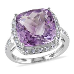 Miadora 14k White Gold 7ct Amethyst and 1/8ct TDW Diamond Ring (G-H, I1-I2)