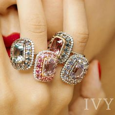 Summer Spinel Collection: IVY signature Valencia Rings are composed of pastel colored Spinels and even more Spinels surrounding them. www.ivynewyork.com