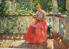 On the Porch genre scene - oil painting