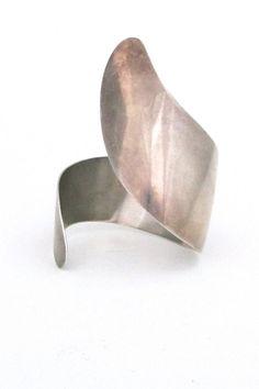 Arne Johansen, Denmark - vintage modernist extra large sterling silver cuff bracelet