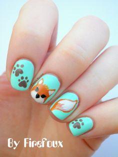 Fox nail art...how cute! @Patty Markison Markison Grover