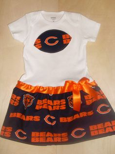 Carissa this would be so cute for Bella & Nessa!! Chicago Bears Inspired Baby Dress by SportyBabes on Etsy