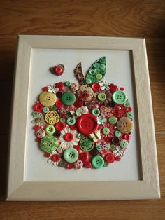 Handmade Canvas Wall Art using Buttons, Beads & Gems
