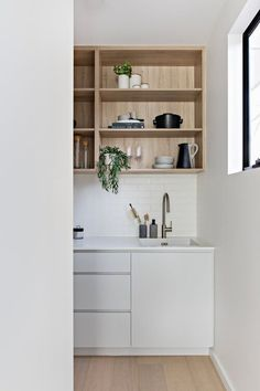 walk in pantry, timber overheads Laundry In Bathroom, Bathroom Medicine Cabinet, Oak Street, Pantry Design, Butler Pantry, Walk In Pantry, Home Reno, Joinery, Shelving