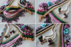 One of a kind, statement necklace in pink, green, blue and beige tones is decorated with flowers and natural forms created with beaded