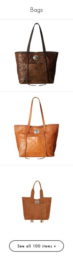 """Bags"" by bleubeauty1 on Polyvore featuring bags, handbags, tote bags, western purses, american west handbags, shopping tote, brown shopping bags, chocolate brown purse, pocket tote bag and shopping tote bags"