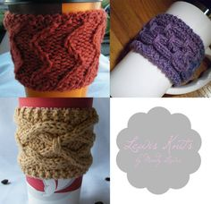 Digital PDF Knitting Pattern - 3 Cable Cup Cozy Knitting Patterns