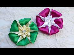 Канзаши, Цветы из атласной ленты МК Зефирки для Саши Flower Kanzashi Master Class hand made DIY - YouTube