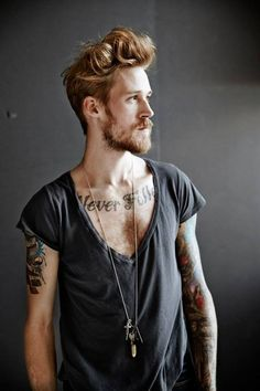 Hipster men With Undercut Hairstyle Tattoo & Beard