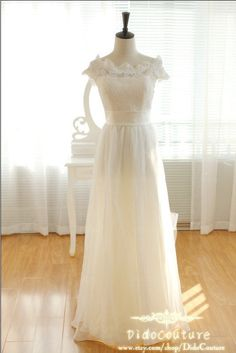 Princess Off Shoulder Chiffon Lace Beach Wedding Dress,A-line Chiffon Bridal Gown,Romantic Bridal Dress on Wanelo