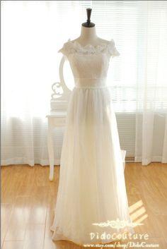 Princess Off Shoulder Chiffon Lace Beach Wedding Dress,A-line Chiffon Bridal Gown,Romantic Bridal Dress on Wanelo