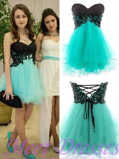 Princess Sweetheart Black Mint Green Tulle Short Prom Dress Ball Gowns Homecoming Dress Sweet 16 Gown