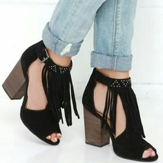 "Chinese Laundry Fringe Peep Toe Sandals Boho style suede material with peep toe and block heels. T-strap with studded detailing and adjustable buckle at ankle. Heel height 3 1/2"" and shafts height 4 1/2"" Chinese Laundry Shoes Heels"