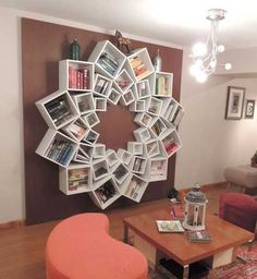 Delightful Mandala Bookshelf Using Plain Square Shelves From Ikea   Coolest Bookshelf  Idea! Love Love Love It!