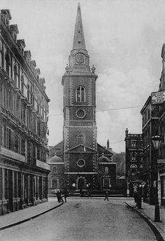 St Botolph's, Aldgate from the Minories, 1908
