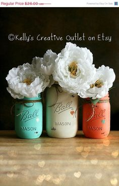 Cream, Coral And Teal - Painted Mason Jar - Distressed Mason Jars - Vase - Home…