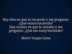 〽️ Hay días que la recuerdo y me pregunto...Mario Vargas Llosa... Advice Quotes, True Quotes, Mario Vargas, Mario Varga Llosa, Love Phrases, Love Others, Pretty Words, Spanish Quotes, Daily Motivation