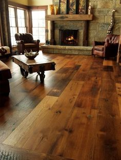 Would love wood floors throughout myhome like this! Very bold and cozy!