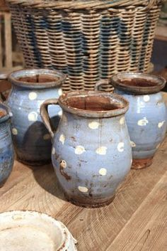 pots with white dots...